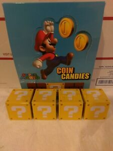 4x Tins Super Mario Question Mark Box Coin Candy Embossed Metal