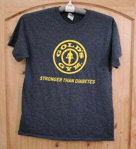Golds Gym Stronger Than Diabetes Shirt Mens Gold Logo Gray T Shirt Size M $14.95