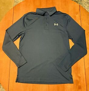 Under Armour Mens Heat Gear Loose Polo Shirt Blue Long Sleeve Size Small