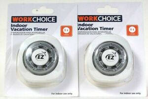 2 Ct WorkChoice 14 Preset On & Off Cycles Per Week 2 Prong Indoor Vacation Timer