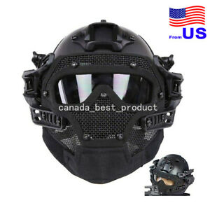 Tactical Airsoft Paintball Fast Helmet Goggles G4 System Full Face Mask BK USA $85.49