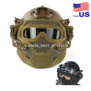 Tactical Airsoft Paintball Fast Helmet Goggles G4 System Full Face Mask Tan USA $85.49