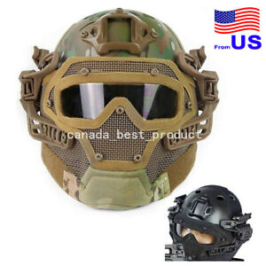 Tactical Airsoft Paintball Fast Helmet Goggles G4 System Full Face Mask MC USA $93.59