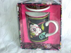 Vera Bradley Porcelain Mug With Cover in Ribbons Floral Free Shipping $38