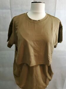NEW Maternity Nursing Brown Short Sleeve Shirt Size Large Miss Military Mom
