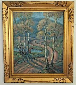 Antique Oil Painting Impressionist Landscape Artist Signed RE Cooley $800.00