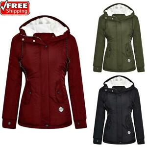 Women Warm Fleece Lined Jacket Parka Ladies Winter Hooded Coat Outwear Overcoat