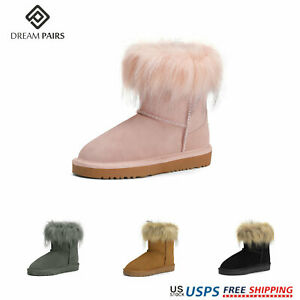 DREAM PAIRS Winter Girls Kids Snow Boots Fur Warm Ankel Casual Mid Calf Shoes US