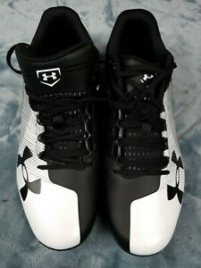 Under Armour Mens size 13 Black White  Rotational Traction ShoesCleats