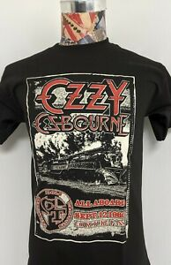 NEW BLACK SABBATH OZZY OSBOURNE CRAZY TRAIN ALL ABOARD 1980 METAL BLACK T SHIRT