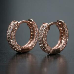 Mens Rose Gold Sterling Silver Micro Pave Iced Small CZ Huggie Hoops Earrings