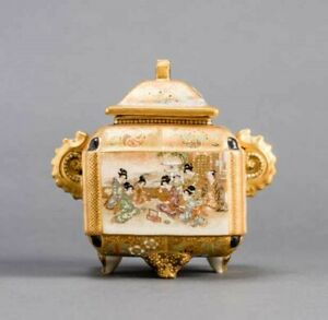 A finely painted antique Japanese Satsuma incense burner, Bizan, Meiji period