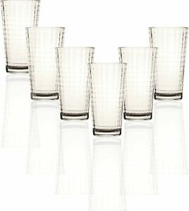 Circleware Matrix Set of 6 Heavy Base Tumbler Cooler Beverage Glasses 15.75 o...