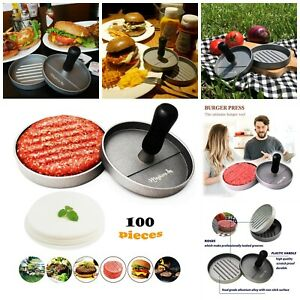Non Stick Burger Press Mold 100 Patty Papers Sheets BBQ Barbecue Grilling New