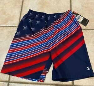 Under Armour Kids Boy's MIDNIGHT NAVY Shorts USA FLAG Blue Swims size 7  NEW