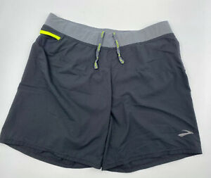 """Mens 7"""" Brooks Running Shorts Mens Blackgray With Liner Size Large"""