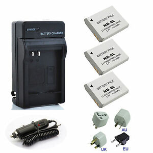 NB-6L NB-6LH Premium Battery  Charger Pack For Canon PowerShot S90 S95 IXUS 105