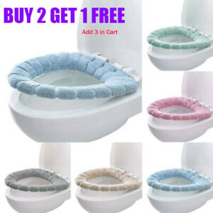 Bathroom Soft Toilet Seat Cover Washable Warmer Mat Pad Lid Cushion Closestool