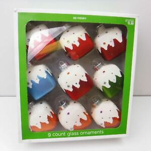 Target 2008  Be Merry Christmas Square Glass Ornaments Set of 9 in Box