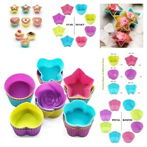 Muffin Baking Cups Silicone Cup Cake Liners 6 Shape Mold Baking Molds Pack Of 24