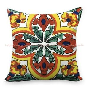 Mexican talavera flowers Azulejo cushion cover throw pillow cover $14.89
