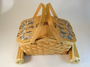 Vintage Wicker Picnic Basket With Birdhouses on the Top and 2 Placemats