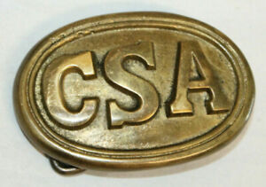 Antique Style Military Civil War Confederate CSA Belt Buckle Oval SOLID Brass $14.99