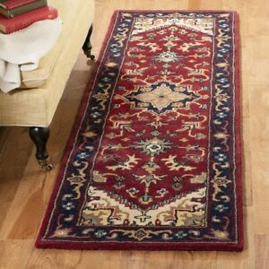 Long Runner Traditional Oriental Hand Tufted Wool Red Area Rug **FREE SHIPPING**