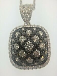NEW Spark Creations 18kt white gold diamond and black diamond pendant necklace