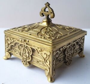 Postage Stamp Box Can Bronze about 1900 AL1413 $264.08