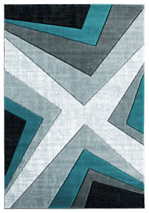 Contemporary Abstract Plush Carved Turquoise Area Rug **FREE SHIPPING** $99.00