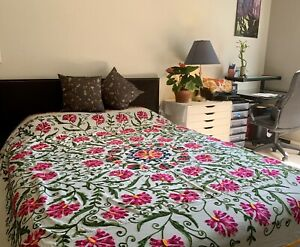 King Antique Thread work Hand Embroidery bed spread $170.00