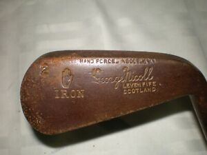 Antique Vtg  George Nicoll Scotland 2 Iron Leven Fife - Wooden Hickory Shaft