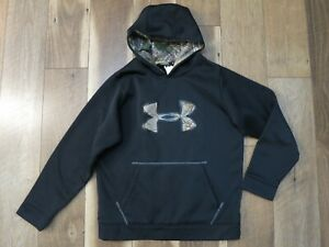 Under Armour Storm 1248453 Boy's Black Camo Loose Pullover Hoodie Sz YLG $10.99