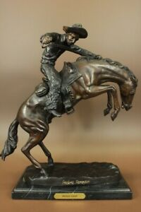 REMINGTON FAMOUS WOOLY CHAPS BRONZE SCULPTURE COWBOY HORSE OLD WESTERN ARTWORK
