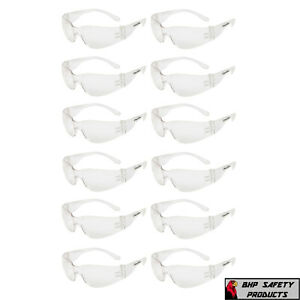 12 PAIR PACK Protective Safety Glasses Clear Lens Work UV ANSI Z87 Lot of 12 $10.98