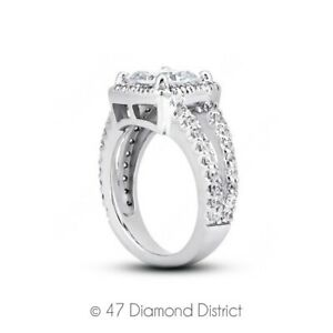 5.34ct tw D-VS1 Radiant Natural Certified Diamonds PT 950 Halo Side-Stone Ring