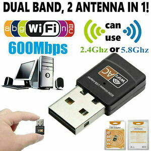 Mini Dual Band 600Mbps USB WiFi Wireless Adapter Network Card 2.45GHz 802.11ac