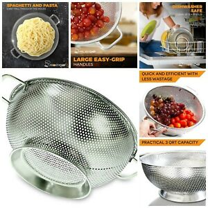 Kitchen Strainer 3 Qrt Colander Stainless Steel Strainers With Large Stable Base