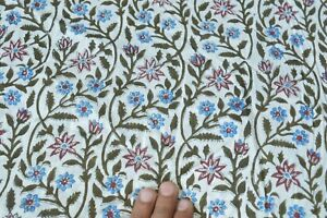 Print Dress Fabric Indian 200 Yards Vintage Handmade Fabric Cotton Hand Block**