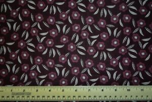 Camelot Captivate Tonal Dark Plum Floral Flowers By the 1 2 yard cotton fabric