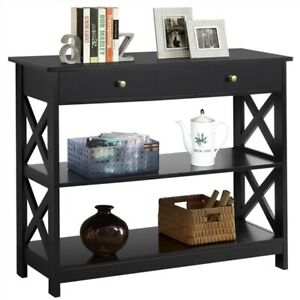 Sofa Side Console Table with Drawer and 2 Storage Shelves Narrow Accent Table