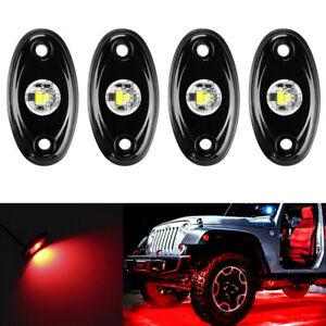 4x Red LED Rock Light 4Pods Lights For JEEP Off Road Truck Car ATV Under Body