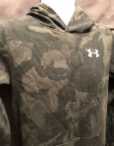 UNDER ARMOUR Hoodie Green Camo Style YXL Hooded Sweatshirt Loose Fit Youth MINT