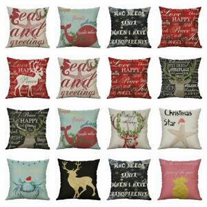 Christmas 18quot; Home Cover pillow Deer Decor Linen Cotton Printing case Cushion $3.09