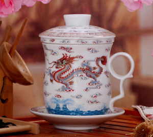 NEW White Dragon Ceramic Porcelain Tea Cups Coffee Mugs with Infuser
