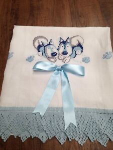 Vintage Embroidered Crochet White Linen Curtain Dog Theme White And Blue