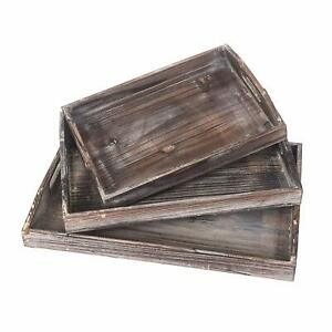 Vintage Wood Trays Nesting Serving Trays with Handles Set of 3 Food Breakfast $20.89