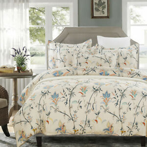 Lightweight Soft Microfiber Duvet Cover Set Floral Print Pattern 3 Piece Set