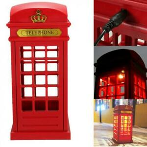 Retro Telephone Booth Night Light USB Battery Dual-Use LED Bedside Table Lamp